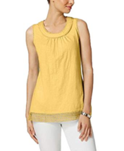 Charter Club Cotton Crochet-Trim Top, Horizon Yellow, XL - $16.82
