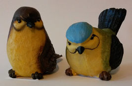 "NEW Pair of Fat Bird Figurines, Resin, 3"" tall, Indoors / Outdoors Statu... - $9.99"