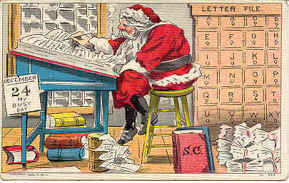 Santa on his Busy Day vintage 1908 Post Card