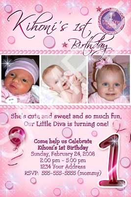 Primary image for 1st First Diva Birthday Custom 3 Photo Girls Party Invitations Personalized Card