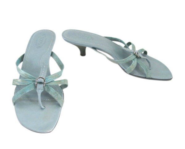 TOD'S Aqua Reptile Leather Strappy Thong Sandals size 8