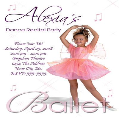 Primary image for Ballet Tutu Dance Recital Custom Photo Birthday Party Invitation Personalized