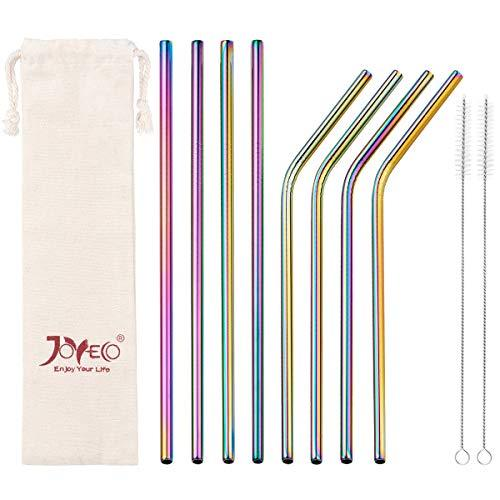 JOYECO Stainless Steel Drinking Metal Straws, Rainbow Multi-Colored Straw, Reusa