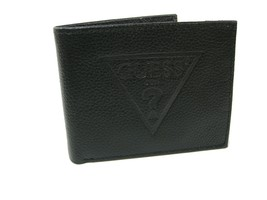 Guess Logo Mens Wallet Valet Genuine Black Leather RFID Protection Billfold NWT - $39.59