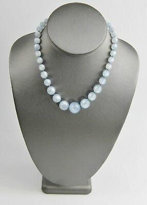 "16"" ESTATE VINTAGE Jewelry BLUE MOONGLOW PLASTIC NECKLACE HIDDEN CLASP"