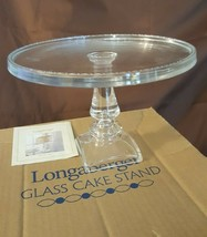 Longaberger Glass 2002 CLEAR CAKE STAND PEDESTAL CAKE PLATE #31196 In Box - $39.95