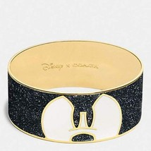 COACH F86789 DISNEY X MICKEY PONDEROUS ENAMEL BANGLE BRACELET GOLD BLACK w/ Box