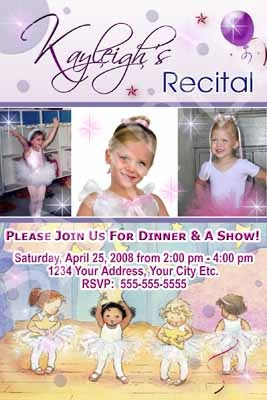 Primary image for Ballet Dance Recital Little Girls Purple 3 Photo Birthday Party Invitations