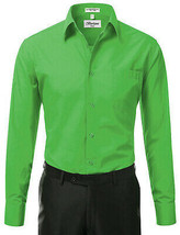Berlioni Italy Men's Green Premium  Standard Cuff Dress Shirt W/ Defect 2XL image 2