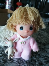 "1988 Precious Moments Enesco Butcher Hi Babies Girl Blonde Blue Eyes 5"" ... - $9.89"
