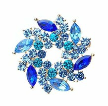 Women Gifts Fashion Crystal Party Brooch Pin Designer Jewelry Blue