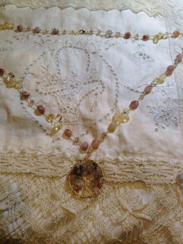 Gomitoli di Filo Antico Vintage Vero Citrino e Pietra D'Agata Albero Della Vita