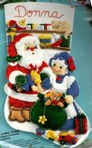 Bucilla Mr & Mrs Claus Santa Gift Toys Holiday Christmas Felt Stocking Kit 83199 - $68.95