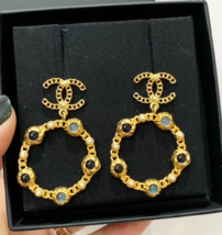 NEW AUTH CHANEL18/19 LARGE Pearl Hoop Earrings Jewel Symbols Crystal CC Gold image 1