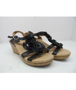 Brown's Landing Women's Sicily Leather Strappy Wedge Sandal Black Size 10M - $14.24