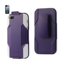 REIKO IPHONE SE/ 5S/ 5 HYBRID HEAVY DUTY HOLSTER COMBO CASE IN PURPLE WHITE - $7.59