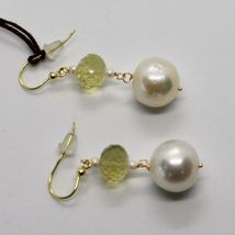 SOLID 18K YELLOW GOLD EARRINGS WITH WHITE PEARL AND LEMON QUARTZ MADE IN ITALY image 5