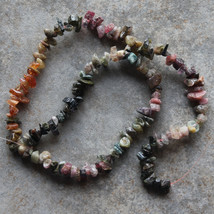 "Watermelon Tourmaline Chip Beads 15.5"" Strand Natural Gemstone Chips - $5.86"