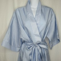 Vintage Barbizon Blue Striped Seersucker Robe M Pockets Belted Kimono    - $49.45