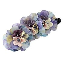 Violet Ponytail Holder Cloth Flower Hair Barrettes Banana Hair Clips Accessories