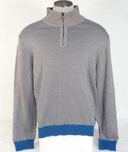 Calvin Klein Gray 1/2 Zip Mock Neck Cotton Sweater Mens NWT - $56.24
