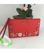 Michael Kors Large Wristlet Jet Set Floral Applique Dark Sangria Red Lea... - $88.19