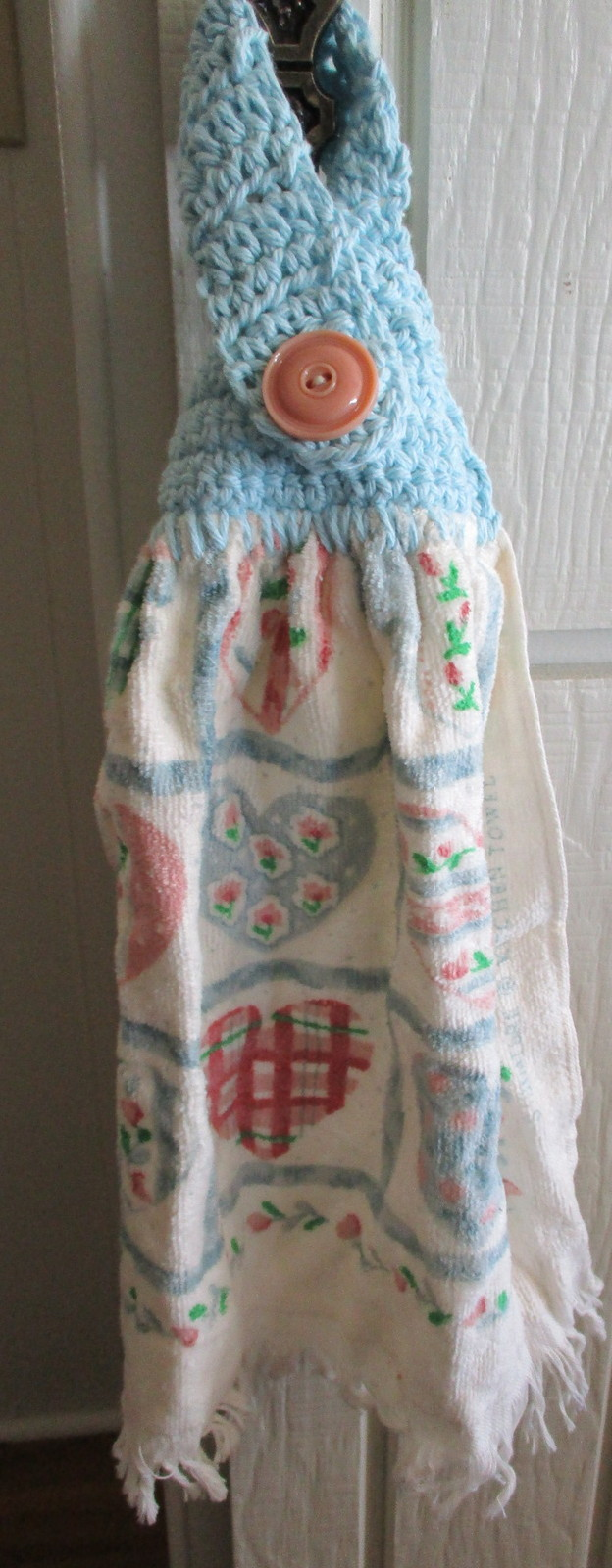Kitchen Towel with Crocheted Top - Hearts Design