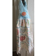 Kitchen Towel with Crocheted Top - Hearts Design - $4.00