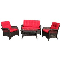 Northlight 4-Piece Brown Resin Wicker Outdoor Patio Furniture Set - Red ... - $1,241.20