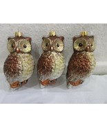Christmas Holiday Woodland Glitter Owl Shatterproof Plastic Ornaments Se... - $19.99