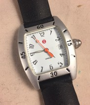 Rare Michele Urban Mini Aluminum White Dial Black Band Watch 72-196-A Swiss - $125.68