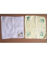 2 Vintage Hand Painted Linen Floral Handkerchiefs • Ivory & Yellow OOAK ... - $9.85
