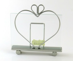 "Hallmark Heart with Bow Shaped Silver Tone Metal 7"" x 4.75"" Photo Frame - $14.84"