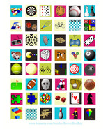 "board games toys clipart collage sheet 1"" squares graphics digital downl... - $2.50"