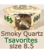Smoky Quartz and Green Garnet Handmade Sterling 925 Silver Ladies Ring size 8.5 - $94.05