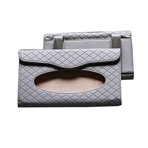 Rhombus Microfiber Leather Car Visor Tissue Case Tissue Holder(23134CM, Gray)