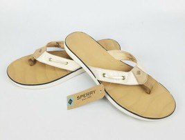 Womens Sperry Oar Creek Ivory/Linen White Beige Flip Flops Sandals Size ... - $35.13