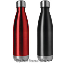 Set of Two Double Wall Stainless Steel 16.9 oz Vacuum Bottle Red & Black... - $28.98