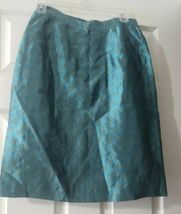 Women's Giorgio Armani Le Collezioni Silk Skirt Suit Teal w/ Gold Size 6 Jacket image 5