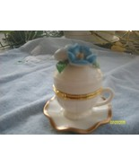 Blue Flower Porcelain Teacup & Saucer Trinket Box - $9.95