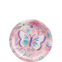 Butterfly Party CAKE Plates ~8PCS~ Purple FLORAL BIRTHDAY Flutter Butter... - $8.86