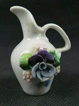 Vintage Miniature Hand Painted German Ceramic Flowers Pitcher Germany - $15.00