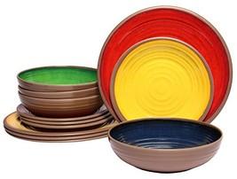 Melange 12-Piece 100% Melamine Dinnerware Set (Clay Collection)   (Multi... - $50.97