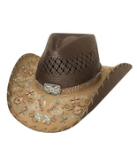 Bullhide Never Give Up Shantung Panama Straw Cowgirl Hat Floral Brim Nat... - £68.37 GBP