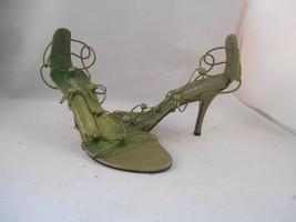 BCBG Olive Green Leather Jeweled Strappy Heels Sz 8.5 M - $24.74