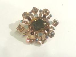 Vintage Style Gold Lt. Topaz Swarovski Crystal ... - $39.00