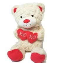 "Animal Adventure Plush Teddy Bear XOXO Heart Valentine 18"" Cream Beige S... - $14.50"