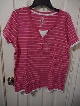 Women's Made For Life Short Sleeve Layered T Shirt Berry Stripe Size Small NEW - $14.84