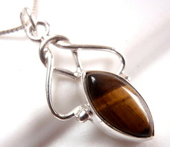 Tiger Eye Marquise Necklace Exquisitely Accentuated 925 Sterling Silver New - $19.75