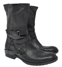 Vera Wang Lavender Sz 9.5M EU 40 Black Leather Zip Up Ankle Boots - $50.99